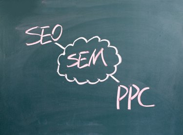 The words SEO and PPC connected to SEM, written on a chalkboard, acting as the concept for a Search Engine Marketing Company in Tampa FL