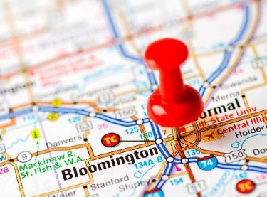 Pin on map marking Bloomington-Normal IL