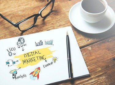 "Drawing of marketing ideas surrounding the words ""digital marketing,"" sitting on a desk with glasses and coffee"