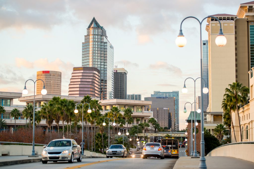 A busy street in Tampa FL, home of the Florida web designer and web development expert, WebDesign309