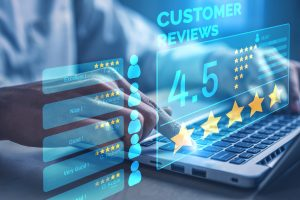 A business owner looking at new customer reviews received through review generation
